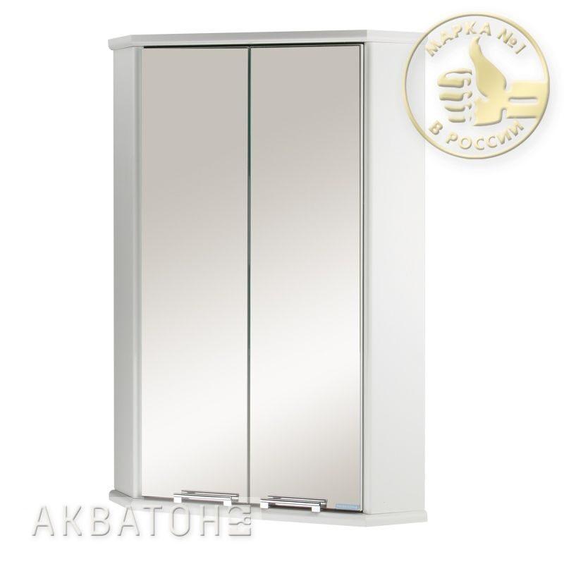 Шкаф двустворчатый угловой с зеркалом призма 2м белый аквато.
